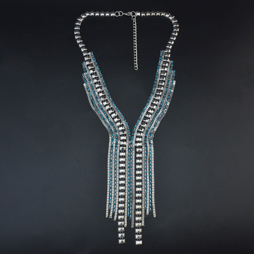 N-6862 Fashion Silver Gold Plated Crystal Tassel Pendant Chain Drop Long  Necklaces for Women Jewelry