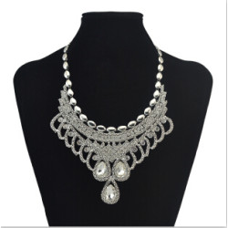 N-6863 2Colors Vintage Silver Gold Choker Necklace Crystal Rhinestone Women Statement Necklace Fashion Jewelry