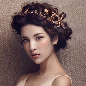 F-0422 Fashion Romantic Party Hair Accessories Gold plated Pearl Beads Starfish Hairpin Hair Clip for Women Girls Jewelry
