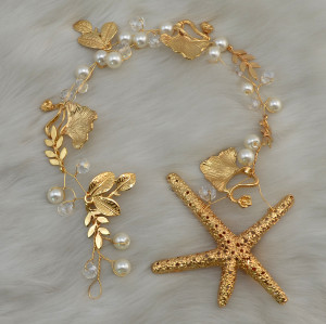 F-0422 * Fashion Romantic Party Hair Accessories Gold plated Pearl Beads Starfish Hairpin Hair Clip for Women Girls Jewelry