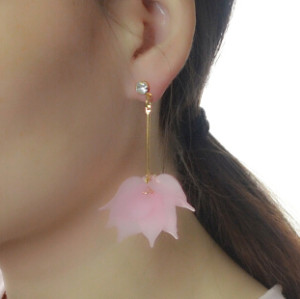 E-4149 3 Style Drop Dangle Earring Flower Pendant Long Shiny Gold Alloy Ear Earrings for Women