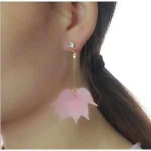 E-4149 3 Style Drop Dangle Earring Flower Pendant Long Shiny Gold Alloy Ear Earrings for Women