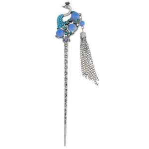 F-0424 4 Colors New Fashion Ethnic Rhinestone Peacock Shape Hair Sticks Headwear for Women Hair Jewelry