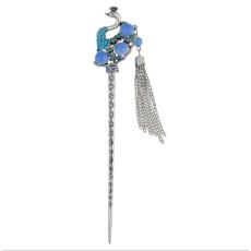 F-0424 4 Colors New Fashion Ethnic Rhinestone Peacock Shape Hair Sticks Headwear for Women Hair Jewelry