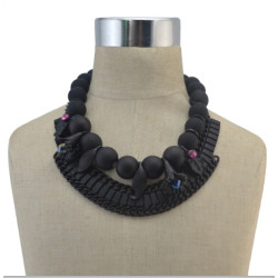 N-5018 1 Colors European Vintage Black Natural beads Necklaces Inlay Flower Crystal Pendant Necklace For Women Jewelry