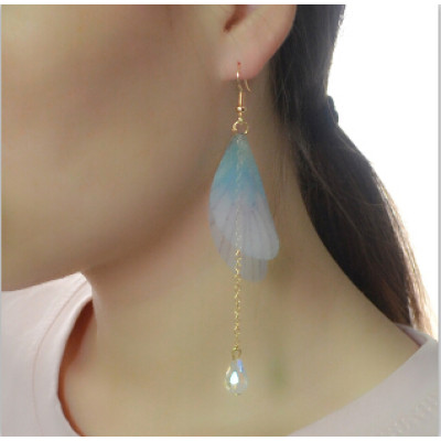 E-4148 2 Colors New Arrived Gold Alloy Diamante Crystal Chain Wing Pendant Charm Ear For Women Earring  Jewelry