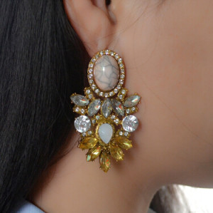 E-4146 Fashion Trendy Women Italina Style Gold Plated Rhinestone crystal earring Drop Dangle Earrings For Women wedding Jewelry