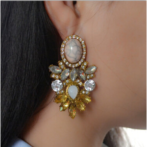 E-4146 Fashion Trendy Women Italina Style Gold Plated Rhinestone crystal earring Drop Dangle Earrings For Women wedding Jewelry