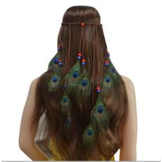 F-0429 Fashion Handmade Ethnic Gypsy Rope  Feather Hairbands Women Boho  Hairband Hair Accessory