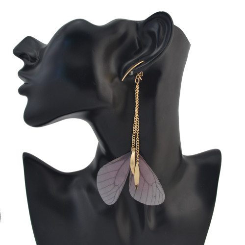 E-4156 2 Style New Fashion Gold Alloy Butterfly pearl Feather tassels Chain Charm Drop Earring For Women  Jewelry