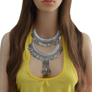 N-6866 Bohemian Vintage Jewelry  Silver Plated Carving Coin Tassel Pendant Necklace for Women