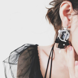 E-4155 Fashion Luxury Crystal Rhinestone Lace Charm Drop Stud Earring for Women Jewelry
