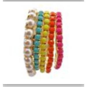 New Wholesale 5 Pcs/Set Multi Strand Resin Stone Colorful Gem Pearl Stretch Gold Bracelet B-0204