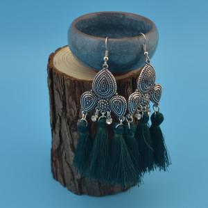 E-4162 4 Styles Bohemian Vintage Alloy Rhinestone Tassel Pendant Charm Earring for Women Jewelry