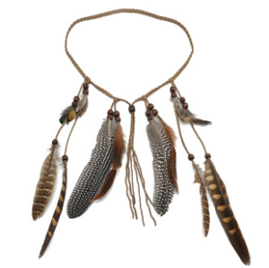 F-0431 * Handmade Leather Rope Brown Feather Headbands Wood Beads Boho Hair Accessories Fashion Jewelry