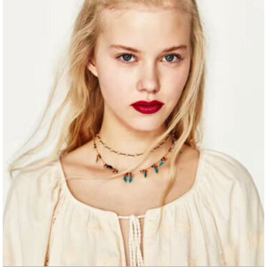 N-6873 2 Styles 3Pcs/Set Black Leather Choker Necklaces with Feather Women Boho Beads Statement Necklace Fashion Jewelry
