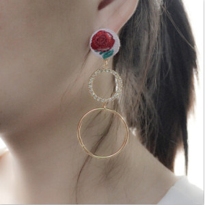E-4165 2 Colors New Fashion Silver Gold Metal Color Rhinestone Circle Drop Dangle Earrings for Women Girl Party jewelry