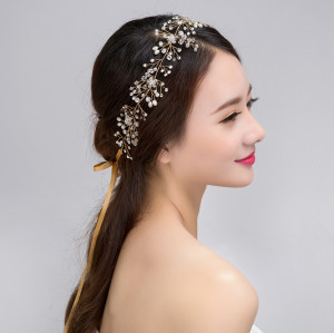 F-0433 Fashion Lace Flowers Crystal Pearl Beads  Hairpin Hair Clip For Women  Bridal Wedding Hair Accessories Jewelry