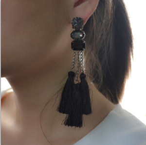 E-4166 2 Colors Bohemian Vintage Silver Tassel Earring Chain Dangle Long Earrings for Women Jewelry