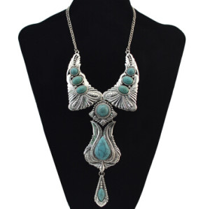 N-6881 3 Colors Bohemian Vintage Silver Plated Turquoise Stone Pendant Necklace Women Fashion Jewelry