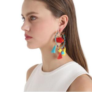 E-4169 Bohemian Round Tassel Beads Pendant Hook Earring for Women Jewelry