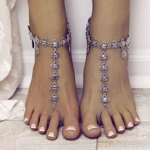 B-0855 Adjustable Foot Chain with Openable Ring Fashion Anklet Silver plated Bracelet Turkish Coin Tassel Beach Foot Jewelry