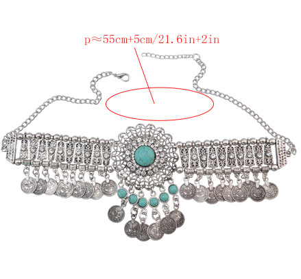 N-6880 3Colors New Fashion Red Green Black Stone Silver Plated Choker Necklace with Coin Tassel Fashion Jewelry