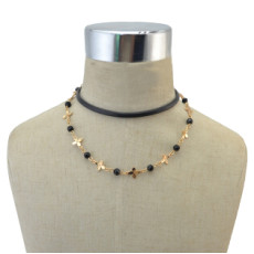 N-6877 Bohe Style Gold Alloy Leather Chain Black Diamante Beads Choker Necklace for Women Charm Jewelry
