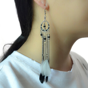 E-4174 3Colors Ethnic Jewelry Bohemian Long Feather Drop Earrings Women Beads Statement Earring Party Jewelry