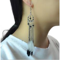 E-4174 3Colors Ethnic Jewelry Bohemian Long Feather Drop Earrings Women Beads Statement Earring Party Jewelry