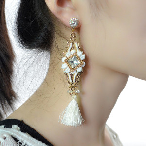 E-4170 Fashion Boho Gold Plated Long Tassel Crystal Drop Earrings For Women Jewelry