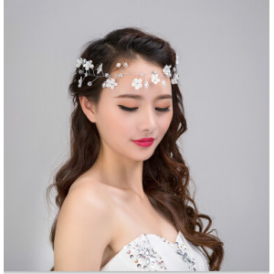 F-0436 New Arrival Bridal Silver Metal Color Flower Headbands Pearl Crystal Wedding Hair Accessories Jewelry