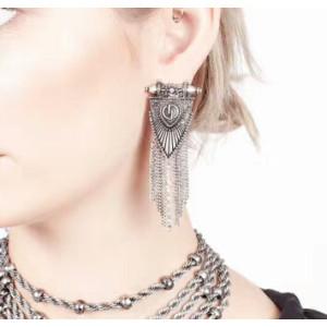 E-4180 2 Colors Bohemian Gold Silver Tassel Earring Chain Dangle Long Earrings for Women Jewelry