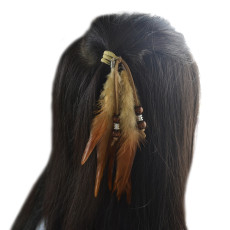 F-0442 3Color BohemianTassel Feather Beads Headdress Hair Accessories
