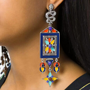 E-4181 2 Color Flower Drop Dangle Pendant Snake Earrings For Women Charm Jewelry