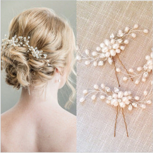 F-0437 2PCS/1Set  Fashion  Hair Clasp Pearl  Chopstick Hair Stick Accessories Hairpin for Women Jewelry