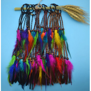 F-0440 Handmade Leather Rope Colorful Feather Headbands Wood Beads Boho Hair Accessories Fashion Jewelry