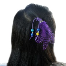 F-0443 Handmade Leather Rope Color Random Feather Headbands Wood Beads Boho Hair Accessories for Women Jewelry
