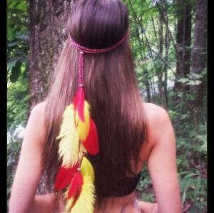 F-0446 2 Colors Handmade Bohemian Feather Headbands Festival Hippie Headdress Hiar Accessories Fashion Jewelry