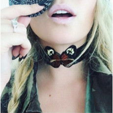 N-6890 Fashion Jewelry Bohemian Leather Choker Necklace Butterfly Cloth Collar Necklaces For Women