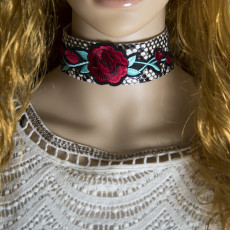 N-6887 Fashion Bohemian Red Flower Thread White Velvet Choker Necklaces for Women Party Jewelry Gift