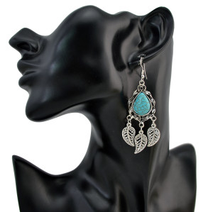 E-4182 Fashion Vintage Silver plated Hook Tassel Turquoise Chain Earring for Women Jewelry