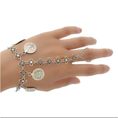 B-0857 Fashion Bohemian Style Coin Pendant Silver Chain Bracelet Charm Bracelets for women