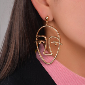 E-4185 2 Color New Fashion Gold Silver Simple Face Shaped Drop Earrings Statement Earring Party Jewelry
