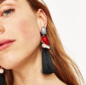 E-4186 3 Colors Fashion Luxury Crystal Rhinestone Charm Drop Stud Tassel Earring for Women Jewelry