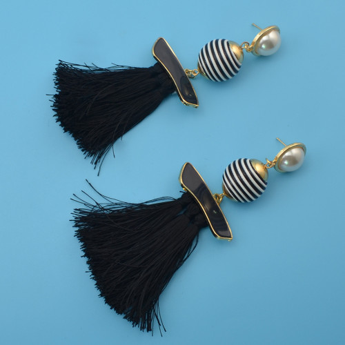 E-4193 4 Colors Fashion Pearl Charm Drop Stud Tassel Earring for Women Jewelry