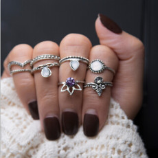 R-1458 8Pcs/Set Vintage Antique Gold Silver Crown Shape Rhinestone Knuckle Midi Finger Rings Set for Women Party Jewelry
