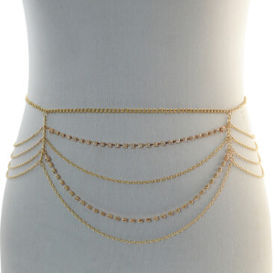 N-6898 Fashion Bohemian Gypsy Gold Plated Rhinestone Waist Chain Body Chain Adjustable Body Jewelry