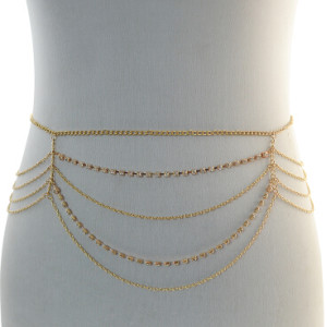 N-6898 Fashion Bohemian Gypsy Gold Plated Rhinestone Waist Chain Body Chain Adjustable Body Jewelry