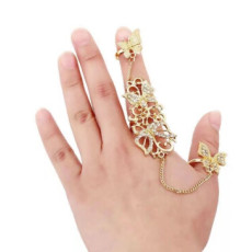 R-1459 Butterfly Chain Rings for Women Bohemian Gold Silver Metal Midi Knuckle Finger Ring Party Jewelry